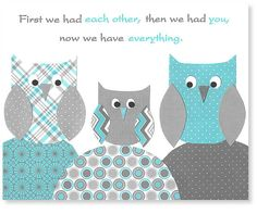 First we had each other, owl nursery print, aqua and gray, kids room decor, owl typography, art for children, playroom, 8 x 10, 11 x 14 on Etsy, $15.00