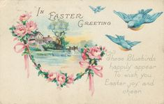 Beautiful vintage Easter postcard with a trip of bluebirds on it. #vintage #Easter #cards