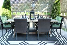 Summer deck DIY decorating ideas. See how I pulled together this relaxing look and decorated our outdoor dining space.