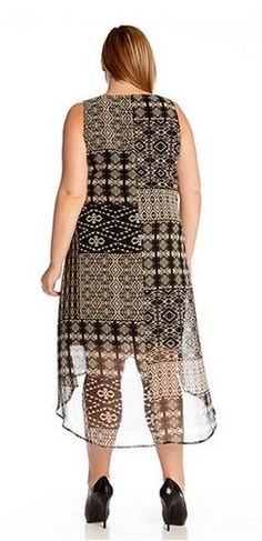 ARTSY PLUS SIZE PUEBLO TRIBAL PRINT HI LO HEM DRESS Artsy  #Baja #Spring_2015…