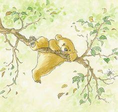 Little bear climbing on a branch by Barbara Firth
