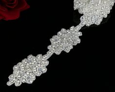 QueenDream 1 yard crystal Applique for Bridal Sash pearls crystal bridal trim crystal rhinestone applique accessory socialite DIY Craft belt and sash Applique -- Learn more by visiting the image link.