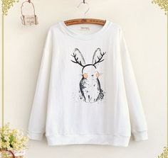 Cartoon rabbit printing long sleeve o-neck pullover Sweatshirts women autumn