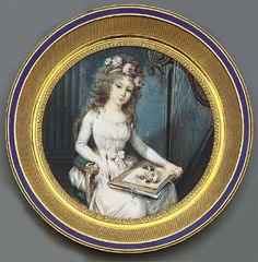 Circle of Étienne-Charles Le Guay; A young lady artist seated in a gilt-wood chair beside a harp, holding a portrait of a gentleman and a potfolio on her lap, in white dress with pink sash, pink ribbon, pink roses and foliage in her long fair curling hair, holding a quill in her right hand, Christie's