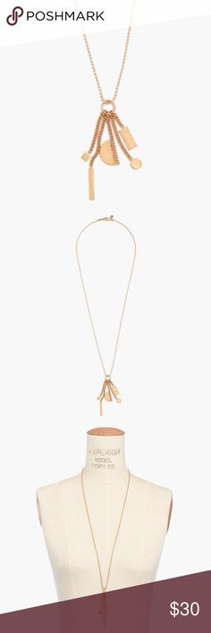 """Madewell Chaincluster Necklace PRODUCT DETAILS A cool collection of shapes soldered onto delicate chains and strung from an extra-long ball chain. Consider it our take on a timeless charm necklace.    Length: 30"""". Brass with metal. Care instructions: Clean your jewelry after each wearing with a soft cloth. Import. Madewell Jewelry Necklaces"""