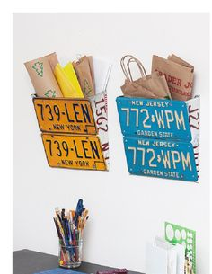 Rebecca Lukens Designs - license plate wall pockets