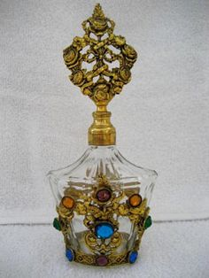 Brass and Jeweled Perfume Bottle-This gorgeous and well made perfume bottle comes from Germany and was cast during the 1920 - 1940 era, when jeweled bottles were making a fashion statement.