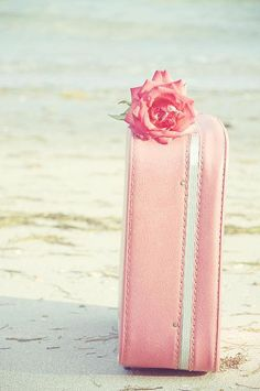 Ready to pack and move to the seaside...just me, a pink rose and a pink suitcase full of pink sundresses and a cupcake !  :D