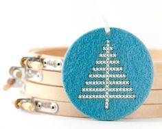 DIY Christmas Cross Stitch Kit - Ornament in Turquoise Blue Felt - Christmas Tree Pattern. $12.00, via Etsy.