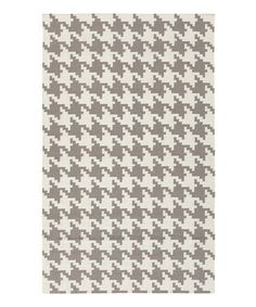 Loving this Ivory Houndstooth Frontier Wool Rug on #zulily! #zulilyfinds