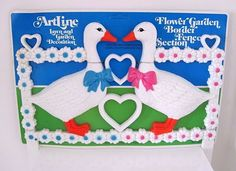 VTG 1980's Artline Heart Love Geese Plastic Lawn Garden Fence Decoration, Kitsch #Artline #Kitsch #80's #Garden #Flower #Heart