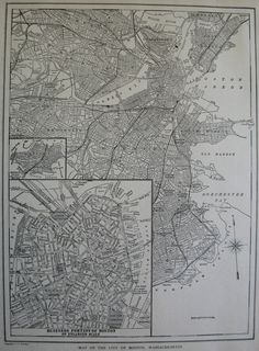 1922 Antique BOSTON Map Black and White Map of by plaindealing