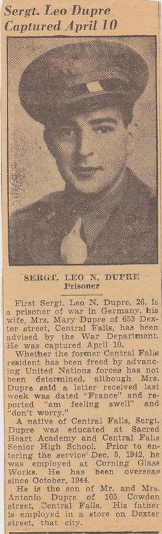 Newspaper notice of my Uncle Leo's capture. (from the collection of the author, used with permission) #genealogy #veterans