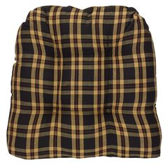 Cambridge tufted chair pads from Park Designs. cotton plaid fabric in burgundy, black tan, and cream. Measures Photo shows Cambridge pattern. Plaid Fabric, Cotton Fabric, Tufted Chair, Chair Pads, Cambridge, Decorating Your Home, Collection, Black, Design