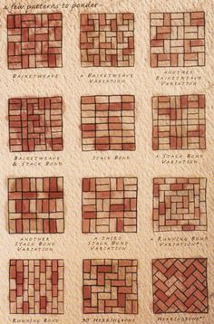 Brick patterns- inspiration for wine cork trivet patterns Mehr Brick Tiles, Brick Flooring, Patio Flooring, White Flooring, Modern Flooring, Brick Paver Patio, Red Brick Pavers, Brick Driveway, Paver Walkway