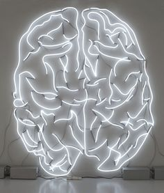 """""""Head on 2007–08″ is a 10 foot tall white neon sculpture of a brain by Algerian artist Adel Abdessemed."""