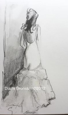 Custom Drawing of Your Wedding Dress in Pencil and by DianeBronstein