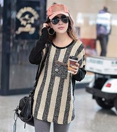 2013 Winter Fashion Light Yellow Stripe Sweater