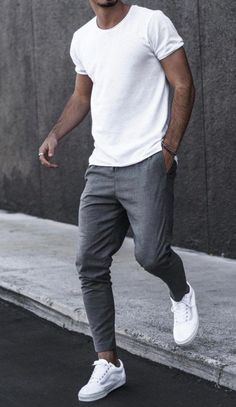 5 Classy White Shirt outfit ideas for Men - A white t-shirt or shirt is a timeless clothing item for men any guy can look amazing in a simple t - Summer Outfits Men, Stylish Mens Outfits, Stylish Clothes For Men, Casual Guy Outfits, Cool Outfits For Men, Casual Mens Summer Clothes, Outfit Ideas For Guys, Men Summer Style, Business Casual Outfits Men