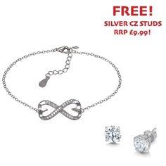 Sterling Silver Cubic Zirconia Heart Infinity Bracelet - John Stewart Jewellers