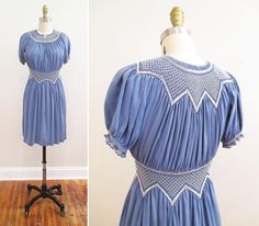 Vintage Dress Slate Blue Embroidered Silk by MinxVTG 40s Fashion, European Fashion, Fashion Prints, Vintage Fashion, Fashion Outfits, European Style, Retro Vintage Dresses, Vintage Ladies, Vintage Outfits