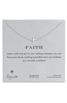 Dogeared 'Reminder - Faith' Boxed Sideways Cross Pendant Necklace available at #Nordstrom