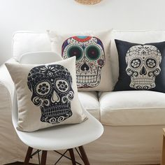 Creative Indiana Fashion creative skull cushion pillow home sofa bed Dec creative no filling Ikea Sofa, Nordic Art, Art Series, Cotton Linen, Linen Fabric, Home Textile, Sofa Bed, Decorative Throw Pillows, Skull
