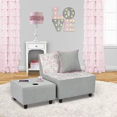 Tween Kids Chair and Ottoman with Cup Holder • Welcome to Tweendom