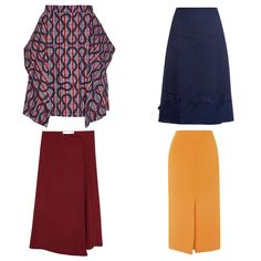 While pencil skirts are unforgiving at times, the midi skirt allows for more freedom and creativity. Look for interesting details like the bows on this Trademark skirt or Vivienne Westwood Anglomania's eye-catching pattern, and you won't feel bored by your weekday outfits.