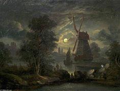 Moonlight Paysage de Abraham Pether (1756-1812, United Kingdom)