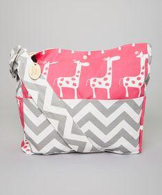 Love this Fuchsia Giraffe & Gray Chevron Diaper Bag on #zulily! #zulilyfinds