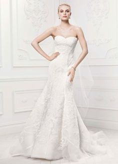 Truly Zac Posen tulle mermaid gown features contoured satin lattice detail and linear floral embroidery. Truly Zac Posen at David's Bridal Style Wedding Dresses Photos, Designer Wedding Dresses, Bridal Dresses, Wedding Gowns, Bridesmaid Dresses, Wedding Bells, Wedding Wishes, Truly Zac Posen, Wedding Gown Gallery