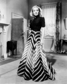 Marlene Dietrich, 1937, in a dress by Travis Banton, the chief designer at Paramount Pictures