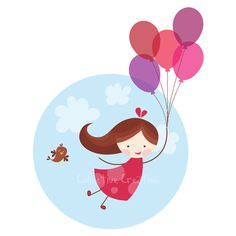 Balloon Girl Digital Clip Art Set - Personal and Commercial Use
