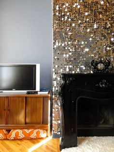 Shaun & Matt's Glam Loft - SEQUIN MANTLE - foamcore + pins + large sequins. high impact!