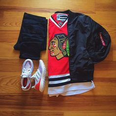 WEBSTA @ frenchoutfit - #FrenchOutfit @lxrd_jaja• NHL chicago Jersey•…