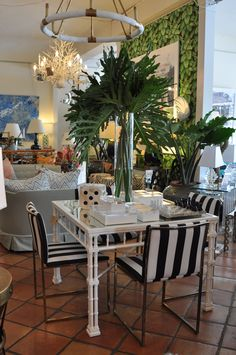 Stripes and #greenery are in at #PalmBeach #Mecox #interiordesign #MecoxGardens #furniture #shopping #home #decor #design #room #designidea #vintage #antiques #garden