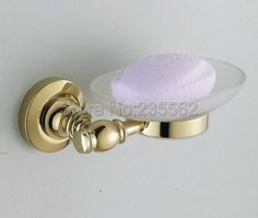 Gold Color Brass Bathroom Accessory Wall Mounted Soap Dish Holder Set W/ Glass Cup lba140 #Affiliate