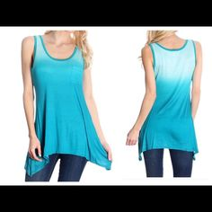 Blue Ombré Tank ❤️ Long blue ombré tank with front pocket and shark bite hem. 95% polyester 5% spandex. A70 NWOT open to offers Blue S Tops Tank Tops