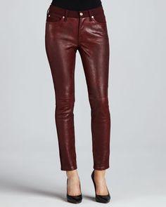 The Skinny Pieced Leather & Doubleknit Jeans, Plum by 7 For All Mankind at Neiman Marcus.