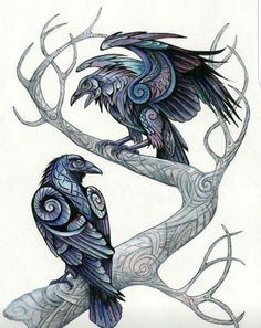 Huginn and Muninn by benu-h on DeviantArt – Norse Mythology-Vikings-Tattoo Hugin Munin Tattoo, Corvo Tattoo, Art Viking, Viking Raven, Viking Woman, Rabe Tattoo, Raven Art, Crows Ravens, Viking Tattoos