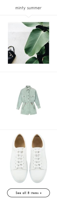 """""""minty summer"""" by aleessarm ❤ liked on Polyvore featuring jumpsuits, rompers, dresses, playsuits, green jumpsuit, romper jumpsuit, green romper, green rompers, playsuit jumpsuit and shoes"""