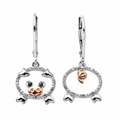 Diamond Accent Pig Earrings in Sterling Silver and 14K Rose Gold
