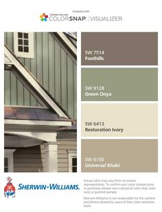 Exterior Paint Colora For House Green Roof Vinyl Siding Ideas For 2019 Green Exterior Paints, Exterior Paint Schemes, Exterior Paint Colors For House, Paint Colors For Home, Outside House Paint Colors, Exterior Paint Combinations, Cabin Paint Colors, Craftsman Exterior Colors, Siding Colors For Houses