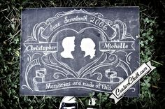 Wedding sign - chalkboard art for weddings - custom painted - save the date. $139.00, via Etsy.