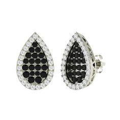 Round Black Diamond  and Diamond  Earrings in 14k White Gold