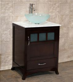 "24"" Bathroom Vanity Cabinet White Stone Marble Top Glass Vessel Sink Faucet TR | eBay"