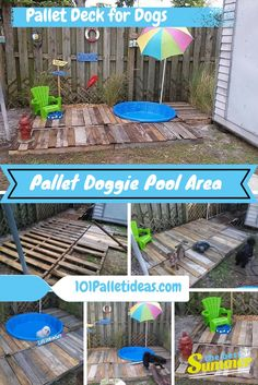 DIY Pallet #Doggie #Pool Area - Pallet Deck for #Dogs| 101 Pallet Ideas