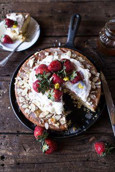 Almond Honey Cake with Strawberry Ripple Cream   halfbakedharvest.com @hbharvest
