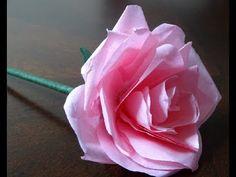How to make a very easy tissue paper rose flower